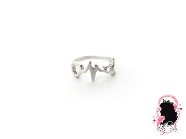 Antique Silver Heart and Heartbeat Ring
